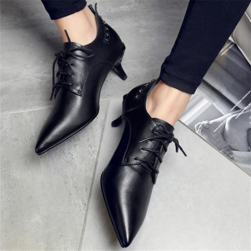 Plus Size 34-43 Pointed Toe Women Pumps Shoes Woman High Heels Genuine Leather Shoes Sexy Rivet Lace-Up Cow Muscle Casual Shoes