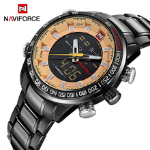 Top Brand NAVIFORCE Men Waterproof Full Steel Watches Men's Quartz LED Digital Clock Male Sport Wrist Watch Relogio Masculino