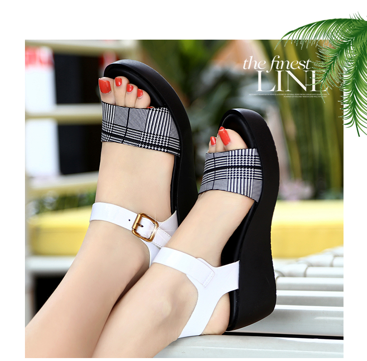 Sandals Female Summer Flat 2019 New Wild With High Heel Wedges Comfortable Non-slip Soft Bottom Pregnant Women Mother Shoes 63