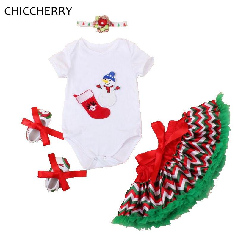Snowmen Infant Christmas Costume Bodysuit Lace Tutu Skirt Headband Crib Shoes Newborn Baby Girl Clothes Girls Christmas Outfit