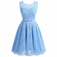 Women S Vintage Sleeveless Lace Floral Wedding Party Dress Bridesmaid A Line Dress With Belt