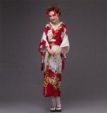 Wholesale Burgundy Japanese Vintage Original Tradition Yukata Silk Kimono With Obi Evening Dress One size Factory Price