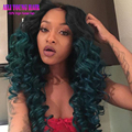 Loose Deep Wave T1b/Green Ombre Full Lace Human Hair Wigs Virgin Brazilian Hair Lace Front Wigs Ombre U Part Wig For Black Women
