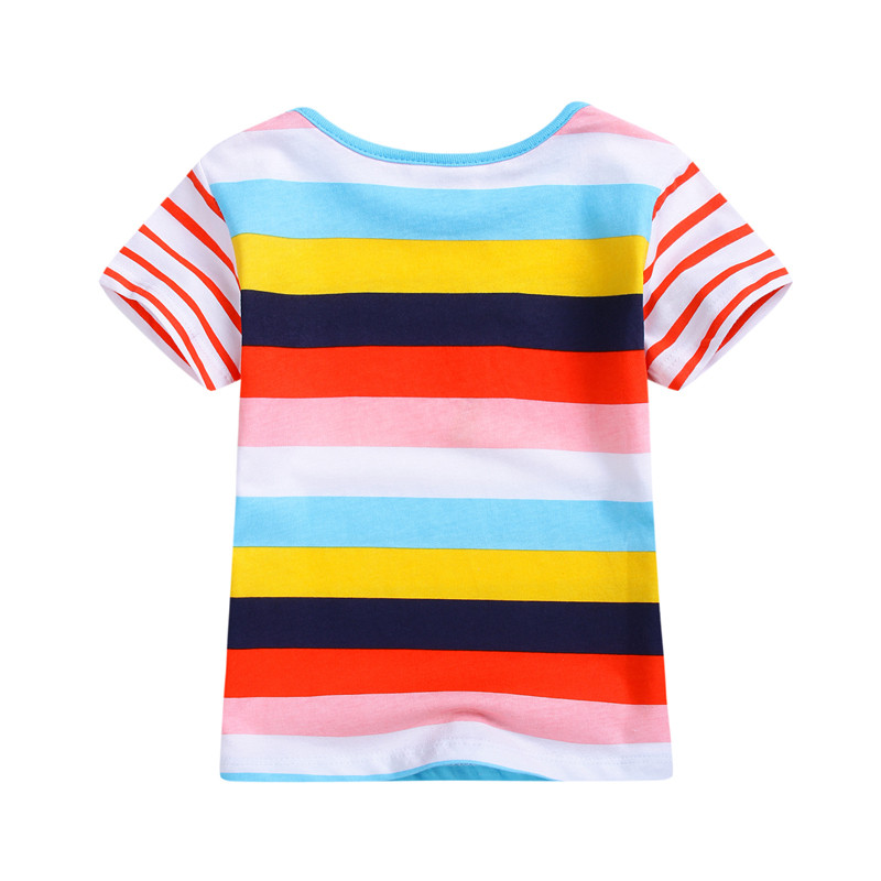 2017 new striped baby boys t shirts kids cute short sleeve summer t shirt baby boys girls lovely clothing jumping meters brand