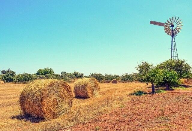 Bidang Pertanian Harvest Laeacco Bal Jerami Kincir Angin Adegan