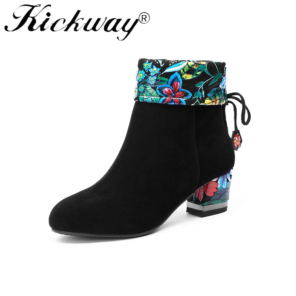 Kickway 2018 New Women Ankle Boots Martin Ankle Boots Autumn Winter Printing Womens Motorcycle Boots Shoes Women Big Size 34-43 недорго, оригинальная цена