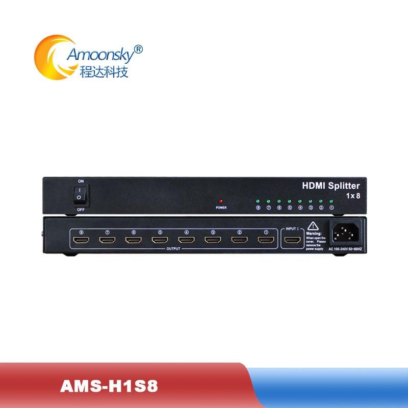 1x8 hdmi splitter AMS-H1S8 support 1080p 3D 4K HD resolution like dtech DT-7148 in dicolor led rental backlit display