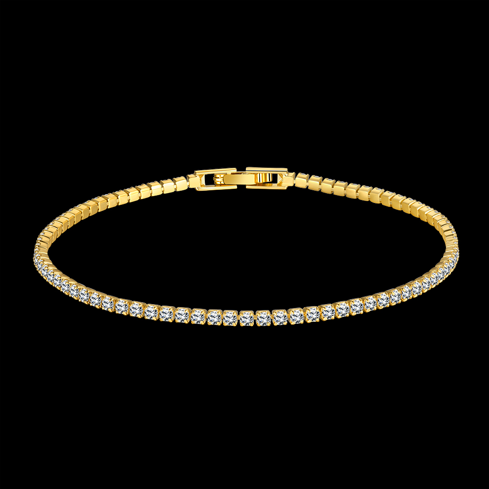 De haute qualite Mode Cristaux Clair Tennis De Bracelets pour les Femmes or Rose couleur Bijoux Femmes Bracelet