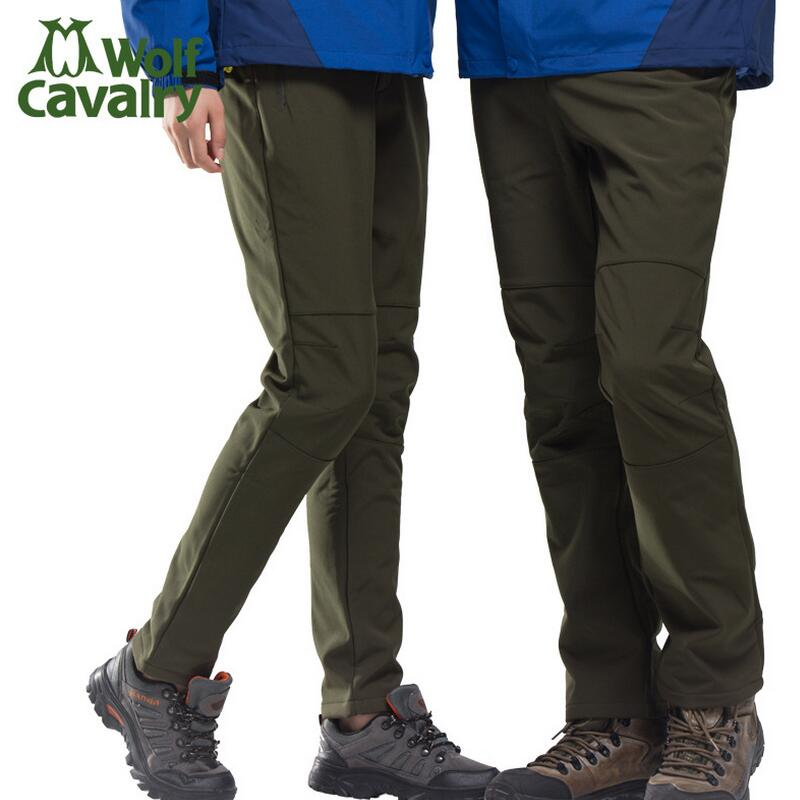 Camping hiking pants men women fall and winter outdoor ski pants softshell trousers thick fleece warm waterproof windproof купить