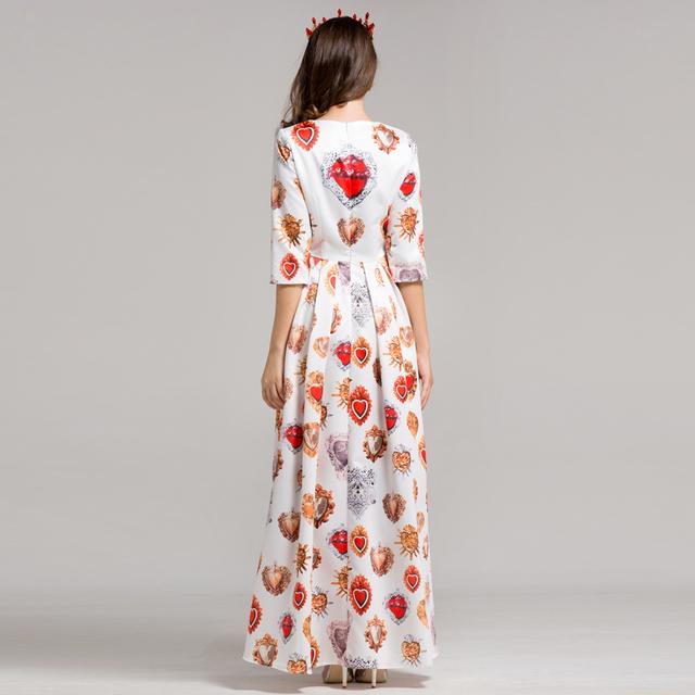 Heart shape printing Diamonds long dress