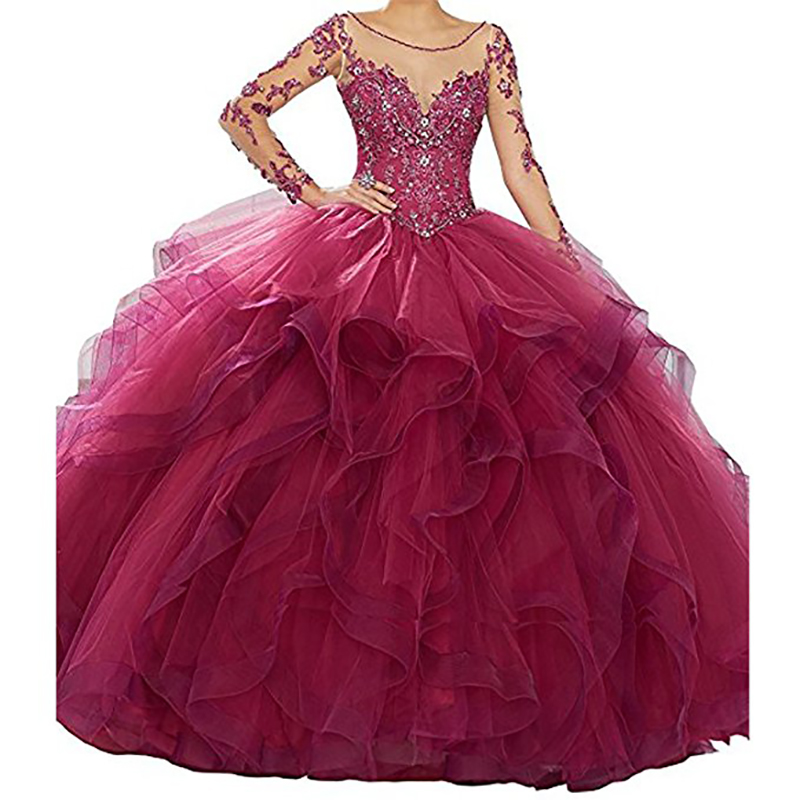 Classic Long Sleeve vestidos de 15 anos Quinceanera Dresses Pink fluffy Prom Gowns Quinceanera Dresses Ball