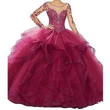 Classic Long Sleeve vestidos de 15 anos Quinceanera Dresses Pink fluffy Prom Gowns Ball Gown Sweet 16 Dress