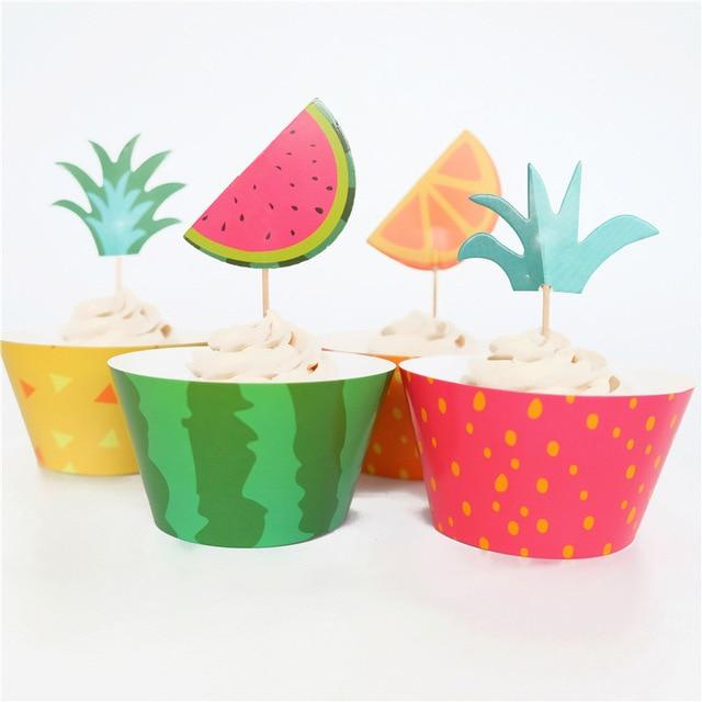 24pcs Fruit Theme Decoration Happy Baby Shower Watermelon Cake