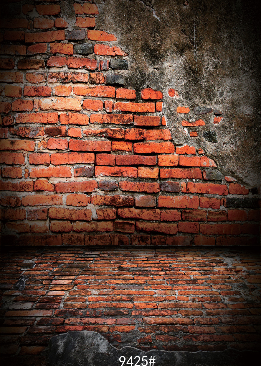 Red Brick Wall Dilapidated Backdrops