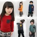 Nueva Primavera 2016 Niños/Niñas Camiseta de Algodón Suave Tela de Traje Ropa de Los Niños de Manga Larga Bebé Niños Adolescentes CC090-CGR3