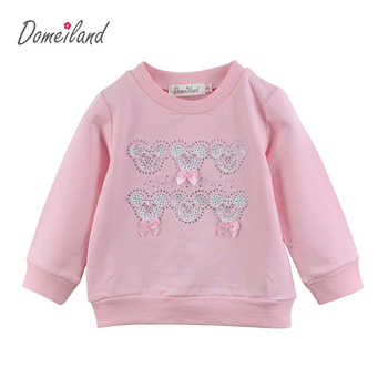 2017 Fashion spring brand domeiland Baby Clothes Long Sleeve Children Cartoon Rhinestone Cute bow T-Shirts girl Cotton clothing