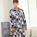 Men Autumn winter new Flannel Cardigan pajamas Long sleeves Turn-down Collar Blue grid Luxury and noble Home service