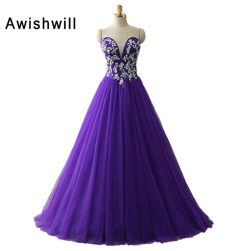 Purple Color Vintage Prom Dresses 2019 Corset Back Ball Gown Party Dress Sleeveless Cheap Tulle Evening Dress for Banquet