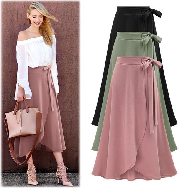 Softu Для женщин длинные Юбки для женщин спереди Разделение юбка Высокая талия юбка-трапеция лук свободные Юбки для женщин плюс Размеры