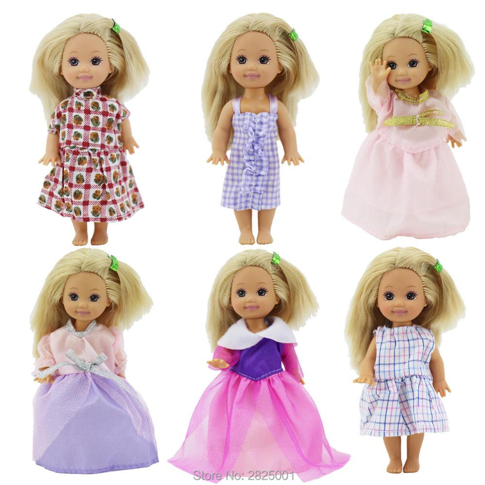 Random 6 Sets/Lot Cute Mixed Mini Dress Wedding Party Gown Clothes For Barbie Sister Kelly Doll Dollhouse Accessories DIY Toy