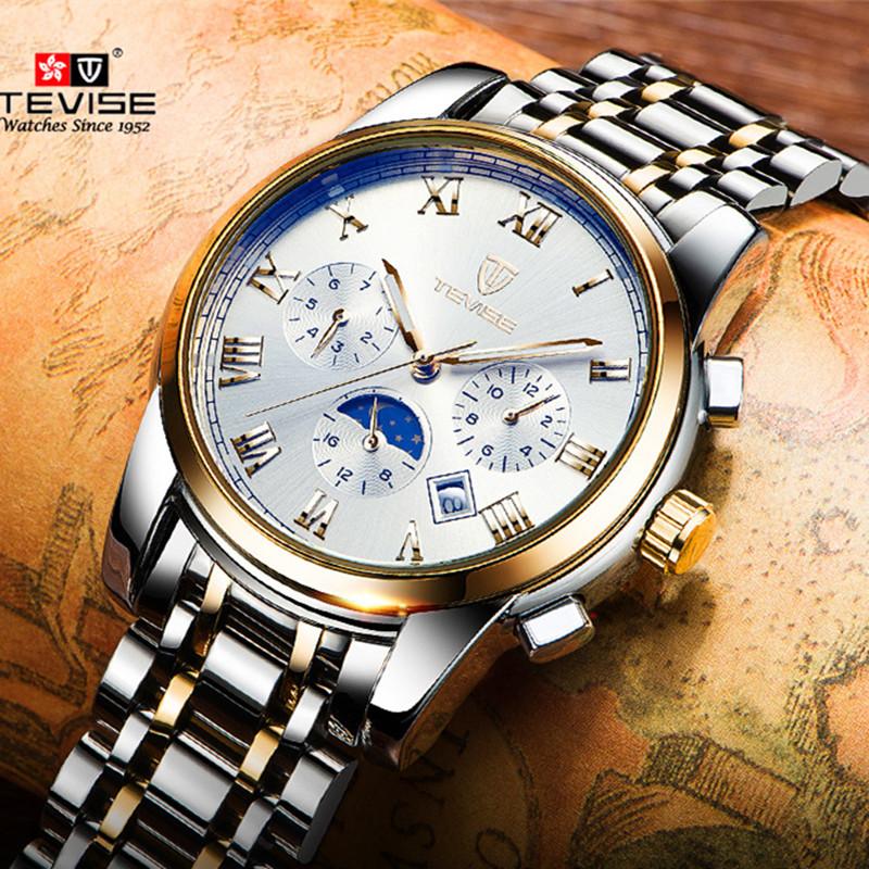 Prix pour 2017 Mécanique Montres De Luxe Top Marque TEVISE Hommes Sport Montre Or Horloge Mens Calendrier Automatique Montre-Bracelet Avec Phase de Lune