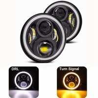 2x H4 Socket Hi Lo 7 Inch LED Headlight For Jeep Wrangler JK TJ LJ Land