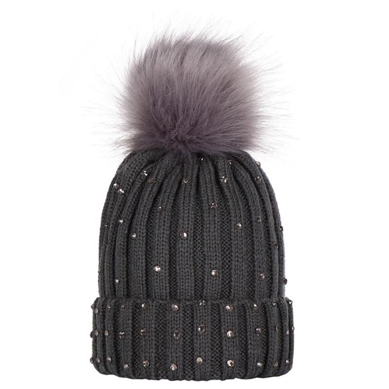 Fashion Winter Children Real Raccoon Fur Pompon Sequins Winter Hat Cap Women Girl's Warm Knitted Bobble Kids Fur Pompom Hat