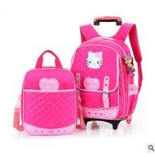 d11f4c0515 Trolley zaino Scuola con ruote Zaino per le ragazze di Viaggio Dei Bagagli Zaino  Per Bambini Gommati Bambini sacchetto di Scuola.