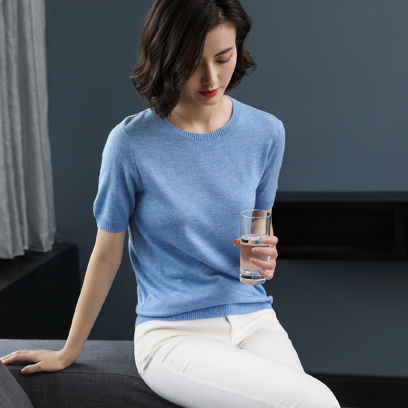Zocept Women's Casual Knitted Short Sleeve Sweater Spring Autumn Summer Cashmere Blended O-Neck Solid Color Pullovers Tees