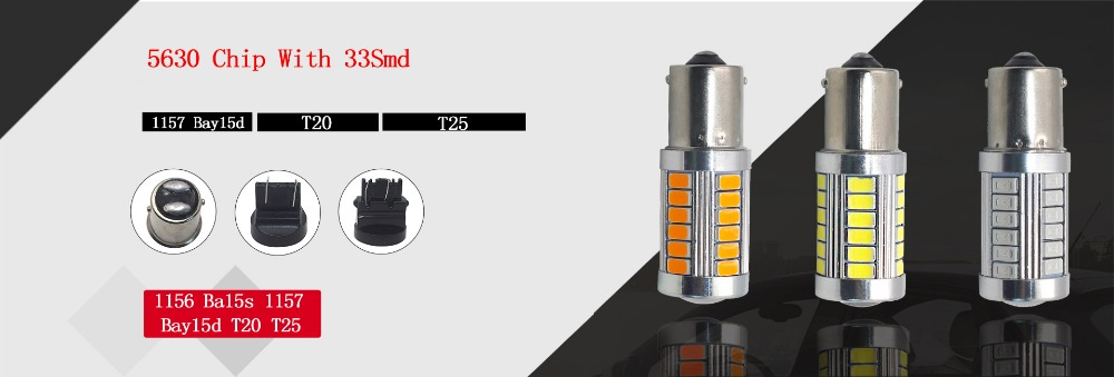 Water /& Wood 1pcs T20 5050 27-SMD Brake Turn Signal Blinker Light LED Bulbs