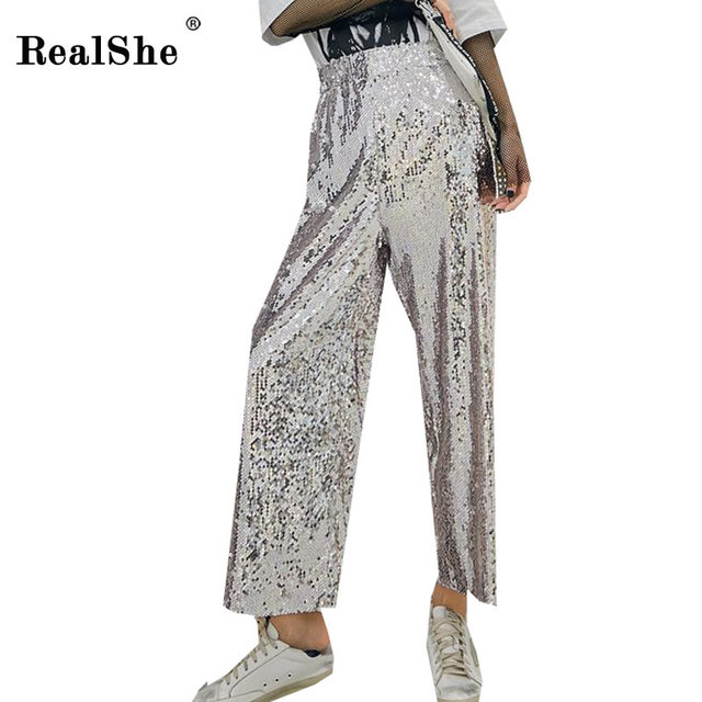 RealShe 2018 Pants Women High Waist Sequins Pants And Trousers ladies Spring Summer Casual Loose  Elastic Waist Wide Leg Pants