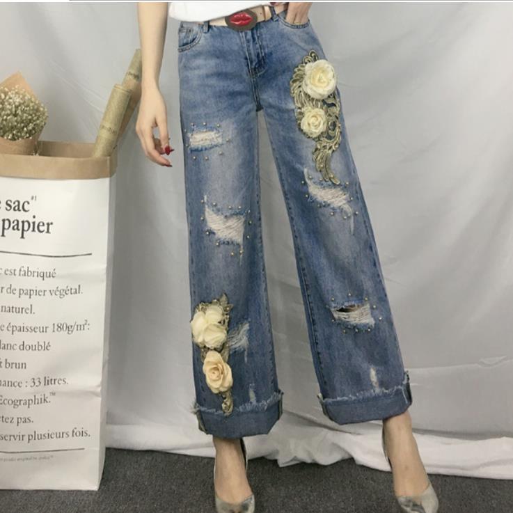 Nouvelle mode 2019 Femmes pantalon large en bas Paillettes Jeans déchirés 3D Fleur Perle Denim Jeans grande taille