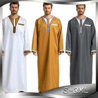 2019 Man Patchwork White Yellow Gray Islamic Clothing Pakistan Islamic Mens Thobe Saudi Arabia Ropa islamica hombre a1072