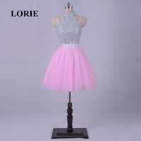 LORIE Pink Homecoming Dress High Neck A-Line Sequined Beaded Short Mini Party Gown vestido de formatura curto cocktail dresses