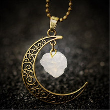 Moon Necklace Irregular Natural Stone Pendant Necklace