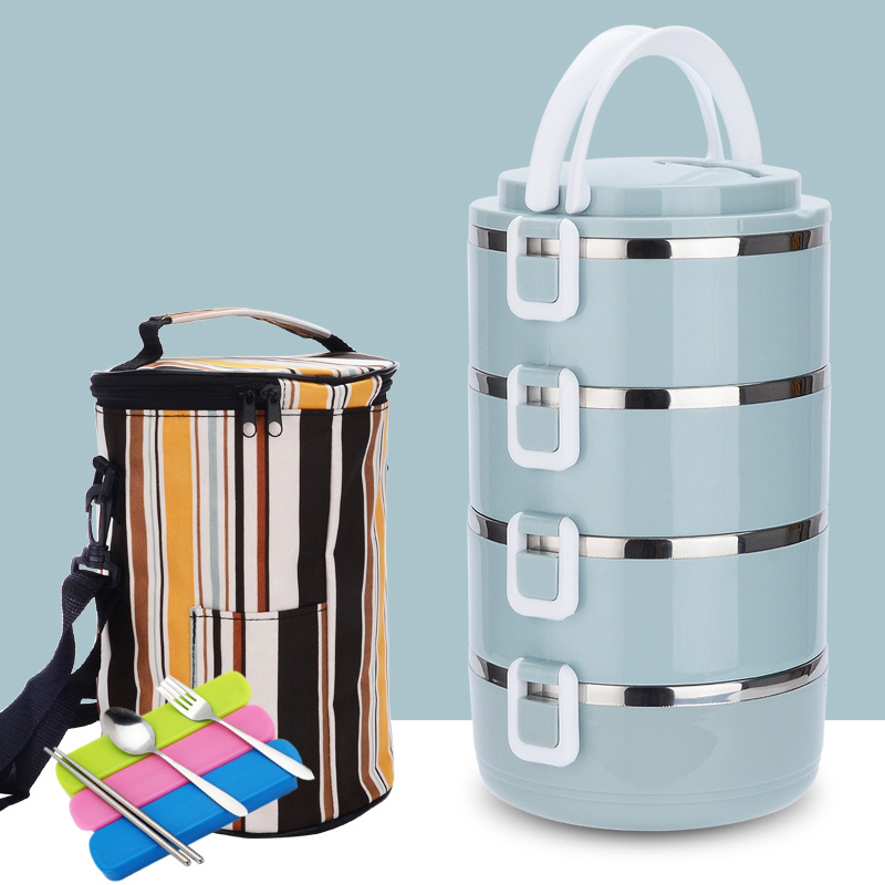 4 Layer Portable Stainless Steel Lunch Bento Boxs Japanese Style Fruit Food Storage Container For Kid School Camping Travel Sets