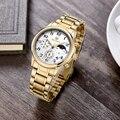 MEGIR Авто Дата Роскошные Часы Мужчины Хронограф Мужские Часы Из Нержавеющей Стали Часы Человек Многофункциональный Relojes Hombre MGE56