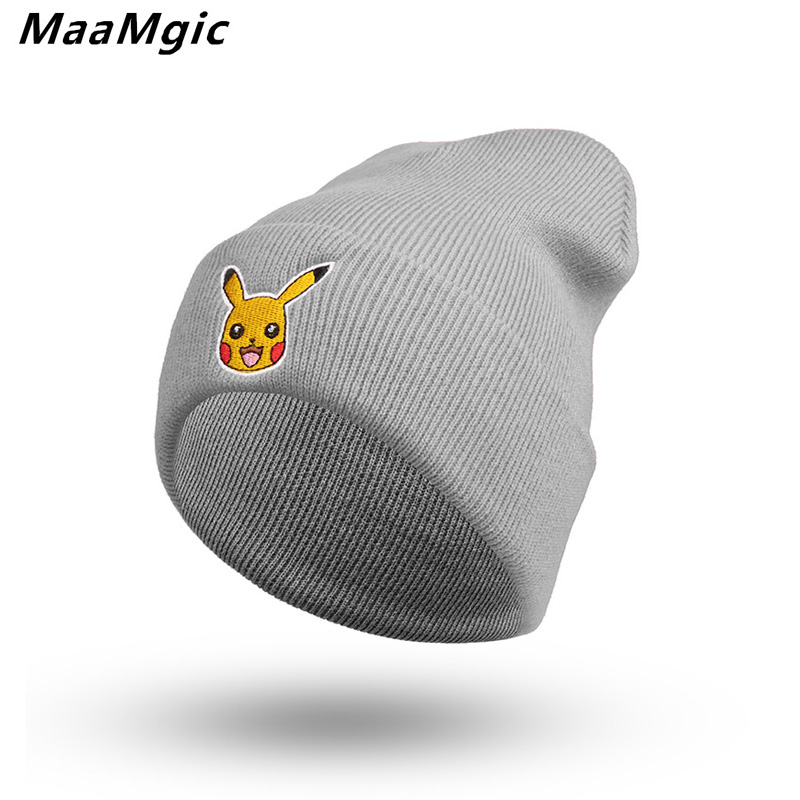 2017 Fashion Warm Pikachu Cap Winter Hat for Women Men Wool Hat Unisex Cap Beanie Knitted Caps Outdoor Sport Warm Hat novelty women men winter warm black full face cover three holes mask beanie hat cap fashion accessory unisex free shipping