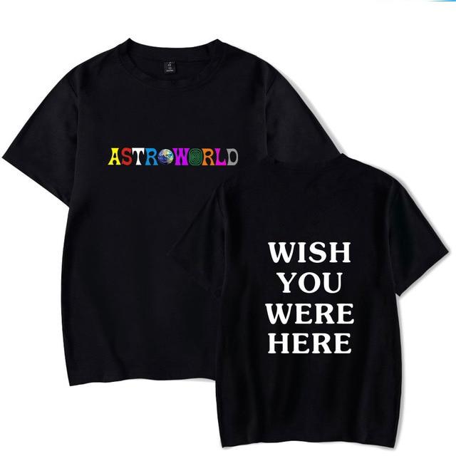 2018 Nova Moda Hip Hop T Shirt Homens Mulheres Travis Scotts ASTROWORLD WISH YOU WERE HERE Carta Impressão Harajuku Camisetas tees Tops