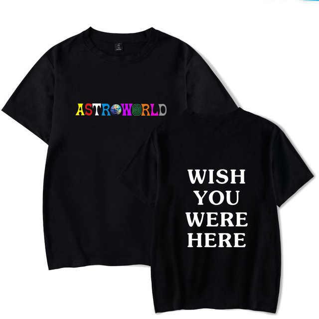 新ファッションヒップホップ Tシャツ男性女性トラビス Scotts ASTROWORLD 原宿 Tシャツだったらいいのにここレタープリント Tシャツトップス