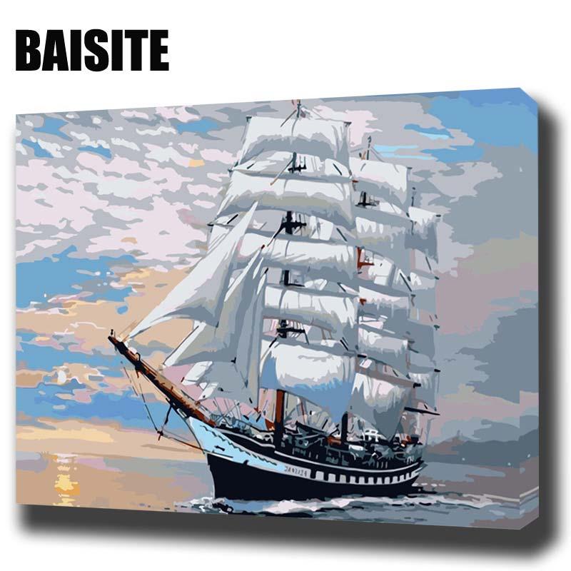 BAISITE DIY Encadrée Peinture À L'huile Par Numéros Paysage Photos Toile Peinture Pour Le Salon Mur Art Home Decor H313