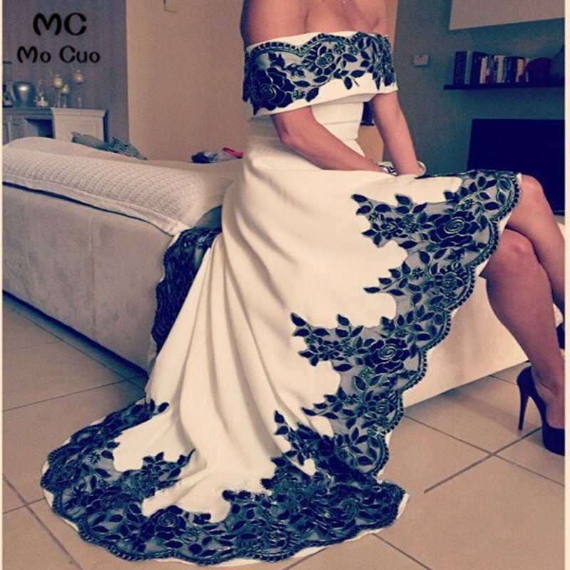 2019   Evening     Dresses   vestidos de fiesta Dubai Arbaic High Low Long Boat Neck   Evening   Pageant   Dress   With Black Appliques Beaded