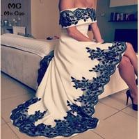 2019 Evening Dresses vestidos de fiesta Dubai Arbaic High Low Long Boat Neck Evening Pageant Dress With Black Appliques Beaded
