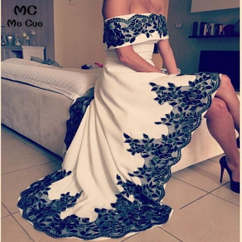 2019 robes de soirée vestidos de fiesta Dubai Arbaic haut bas Long bateau cou soirée robe de reconstitution historique avec Appliques noires perlées