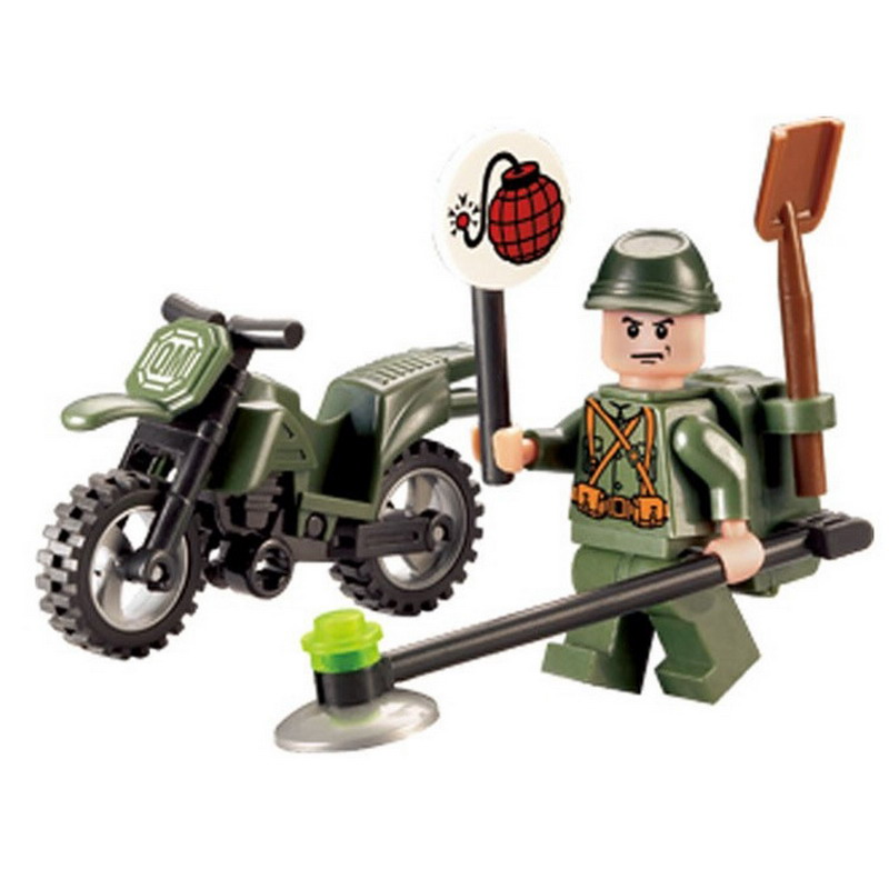 829 ENLIGHTEN City Series Military Demining Motorcycle Building Blocks Enlighten Figure Toys For Children Compatible Legoe enlighten building blocks navy frigate ship assembling building blocks military series blocks girls