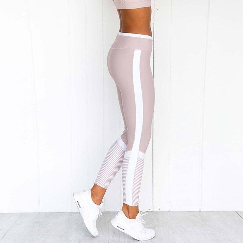 NORMOV Fashion Sexy Printing Fitness   Leggings   Women White Stripe Print Patchwork Pants Slim Fit Hip Push Up Workout   Leggings