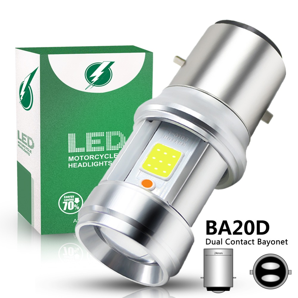 1pc BA20D LED Motorcycle Light COB Glass Lens Headlight Bulbs High/Low Fog Lamp White + Blue 3000LM