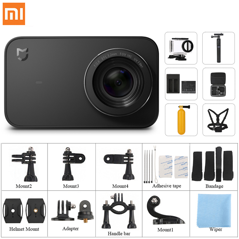 "International version Xiaomi Mijia Mi Action Camera 4K HD Ambarella A12S75 Sony IMX317 WiFi 2.4"" waterproof helmet Sport Cam(China)"
