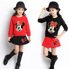 Girls Sport Suit Girls Minnie Clothing 2016 Spring Autumn 2pcs Long Sleeve Sweater+ Skirt Suits Kids Cotton Clothes Set 3-9Years