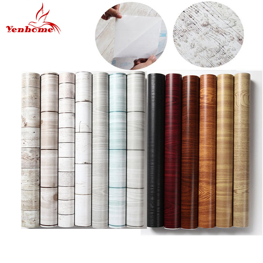 45cmX5m Waterproof PVC Vinyl Wood Grain Self adhesive Wallpaper Kitchen Wardrobe Cabinet Furniture Renovation Door Wall Stickers